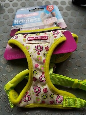 ANCOL SIMPLY COMFORTABLE DOG HARNESS XS 28-40cm CHEST LIME FLOWERS
