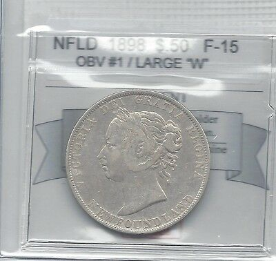 **1898 Obv.#1 Lg. W**,Coin Mart Graded, Newfoundland Fifty Cent, **F-15**