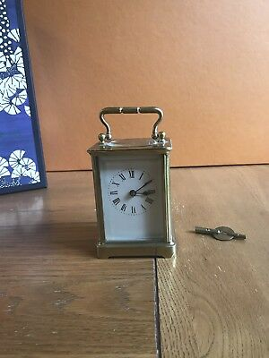 Old Carriage Clock Brass Bevelled Glass And Key