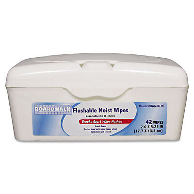 Boardwalk Flushable Moist Wipes, 7 x 5 1/4, Fresh Scent, 42/Tub