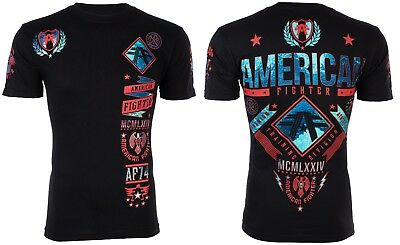 AMERICAN FIGHTER Mens T-Shirt LANDER Athletic BLACK RED Biker Gym MMA UFC $40