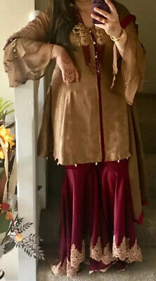 Pakistani Party Wedding Sharara Lehnga Shalwar Salwar Kameez Suit M