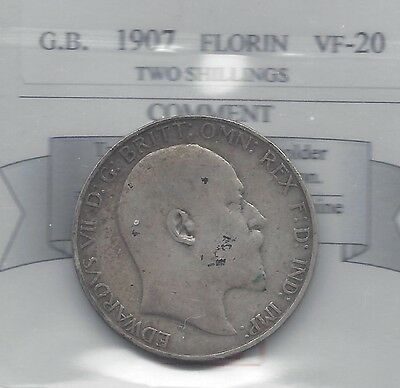 **1907**Great Britain,Florin Two Shilling,  Coin Mart Graded**VF-20**
