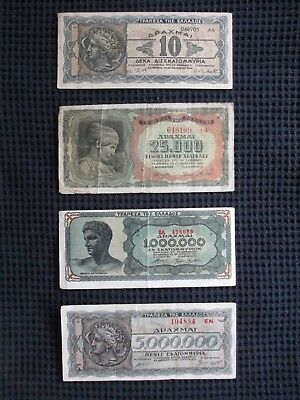 Lot Of Four (4) Different 1943 & 1944 Greece Circulated Drachma Banknotes Notes