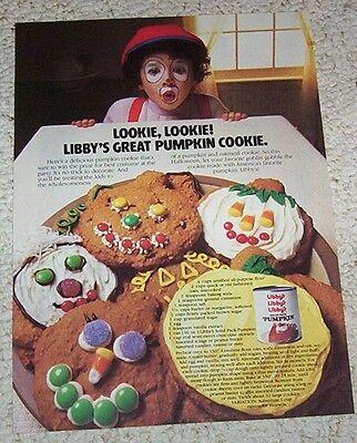 1983 print ad page -Libby's Pumpkin great cookies recipe- cute Halloween AD