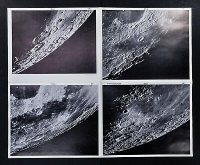 1960 Photographic Lunar Moon Map - 4 Photo Set - Field Pythagoras E1 - Craters