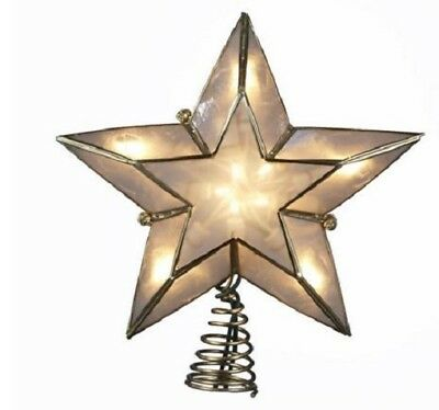 Ivory and Gold Capiz 5 Point Star Christmas Tree Topper Holiday Decoration
