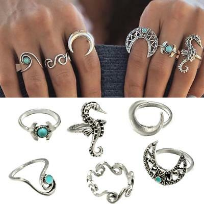 6Pcs/Set Charm Geometric Moon Turquoise Spray Hollow Carved Knuckle Rings kz#au