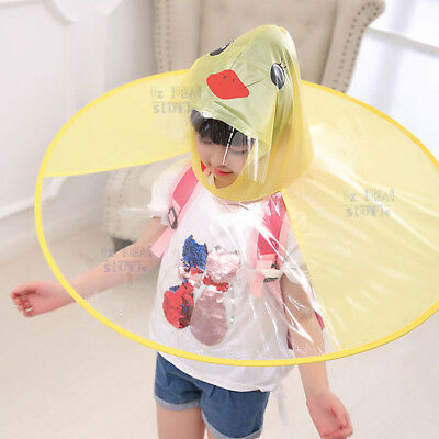 Foldable Cartoon Duck Kids Raincoat Umbrella UFO Shape Rain Hat Cape Candy
