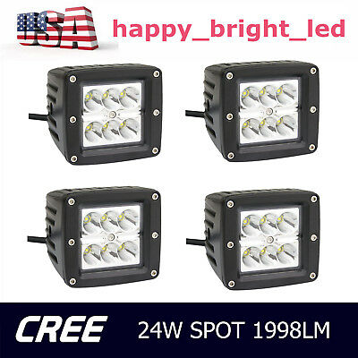 4X 24W CREE LED Work Light Spot Cube Pods 12V 24V Offroad Boat ATV Lamp Jeep SUV
