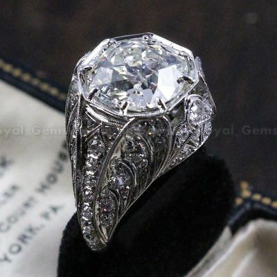 Antique Art Deco Vintage 14K White Gold Over Unique Engagement Ring Circa 1920