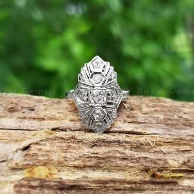 Rare Old Cut Antique Vintage 14K White Gold Over Engagement Ring Circa 1915's