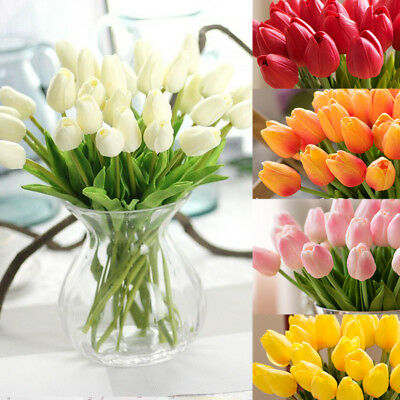 Colorful Artificial Flowers Tulip Flower Floral Fake Valentines Wedding Party