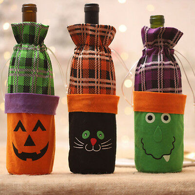 Halloween Wine Bottle Bag Candy Stack Bag Cover with Drawstring Closure LG