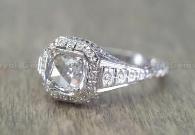 Rare 5.6 MM Diamond Vintage Art Deco Antique 14K White Gold Over Engagement Ring