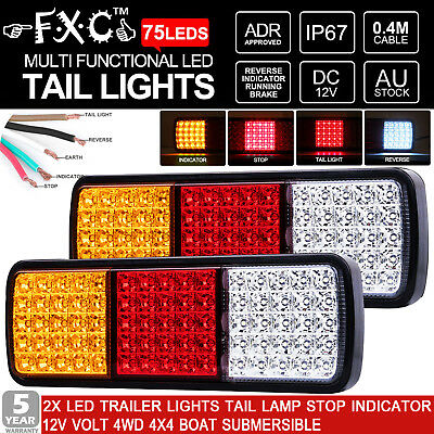 2x 75 LED Tail Stop Indicator Combination Lamp Submersible Light 12V ADR Approve