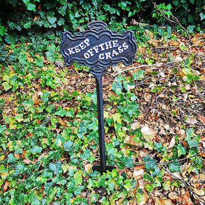 Cast Iron Keep Off The Grass Outdoor Sign Free Standing Garden Stake Plaque New