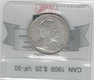 **1909**, Coin Mart Graded Canadian, 25 Cent, **VF-30**