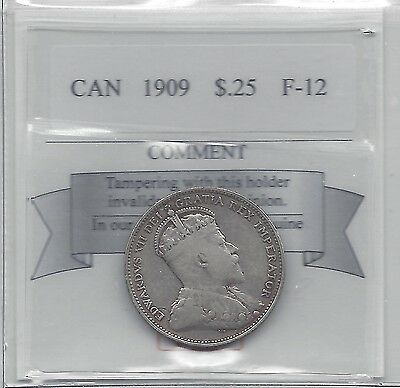 **1909**Coin Mart Graded Canadian, 25 Cent, **F-12**