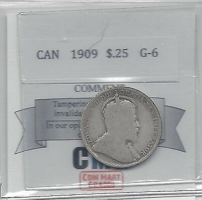 **1909**Coin Mart Graded Canadian, 25 Cent, **G-6**