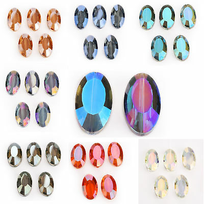 22mm 5pcs Flat Oval Faceted Glass Crystal Spacer Loose Beads Wedding Design New