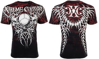 XTREME COUTURE by AFFLICTION Mens T-Shirt BARE BONES Skull Tattoo Biker $40