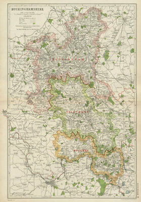 BUCKINGHAMSHIRE. Showing Parliamentary divisions,boroughs & parks.BACON 1934 map