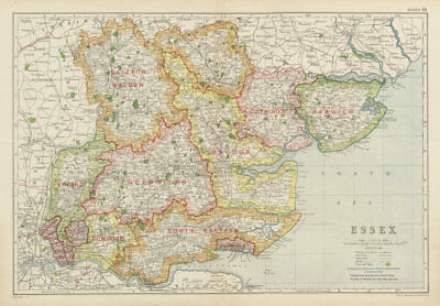 ESSEX. Showing Parliamentary divisions, boroughs & parks. BACON 1934 old map