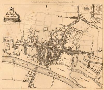 Plan of the city of Glasgow in 1783 by James Lumsden 1848 old antique map