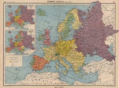 EUROPE in 1941 & 1914/38. Third Reich. Vichy France. Partitioned Poland 1944 map