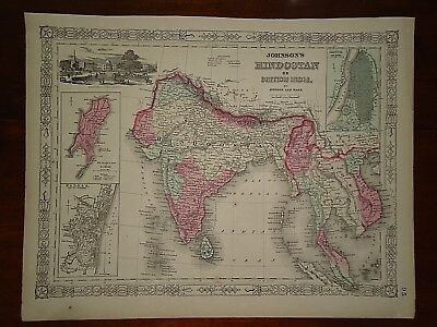 Vintage 1864 BRITISH INDIA - HINDOOSTAN MAP ~ Old Antique Original Map 82818