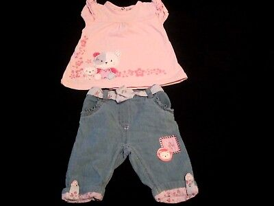 Baby Girls Young Hearts Pink/Blue Jean,Bear Patchwork two piece Outfit Size 6-9M