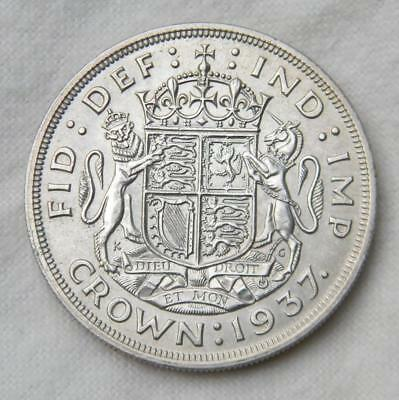 GREAT BRITAIN UK George VI large 1937 silver CROWN, 1st year; lovely UNC