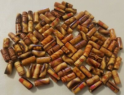 100 Vtg Small 11mm Tube Ethnic Pattern Wood Micro Macrame Craft Jewelry Beads