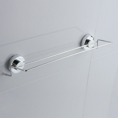 "18"" Chrome Suction Anika Bathroom Shower Wall Mounted Towel Rail Hanging Sucker"