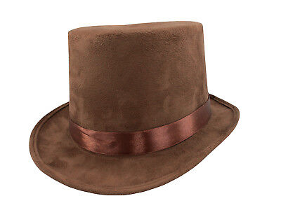 "Steampunk Brown Faux Suede Willy Wonka 6"" Top Hat Adult Men's Costume Accessory"