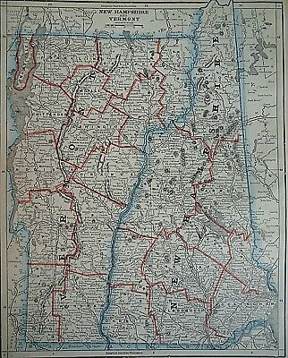Vintage 1893 NEW HAMPSHIRE - VERMONT MAP ~ Old Antique Original Atlas Map 82118