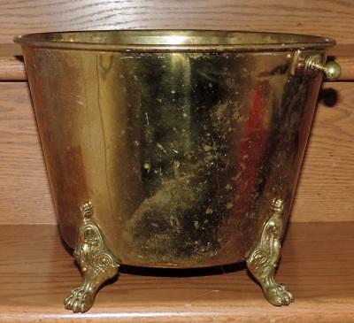"ANTIQUE H W HAYDEN'S ANSONIA BRASS Co PAT 1851-1873 9""h LION'S FEET BRASS BUCKET"