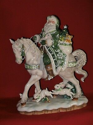 Fitz and Floyd WINTER GARDEN Santa Claus Horse Christmas Figurine Figure Statue