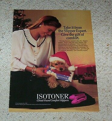 1989 ad page - Isotoner Christmas Santa Claus hat DOG slippers cute vintage AD