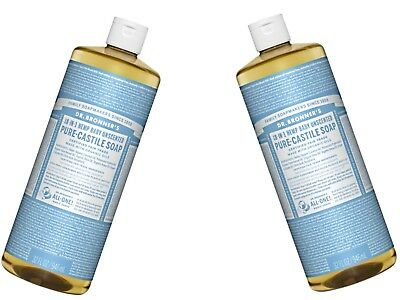 4 x 946ml DR BRONNERS Pure Castile Liquid Soap Baby Unscented Bronner's FREEPOST
