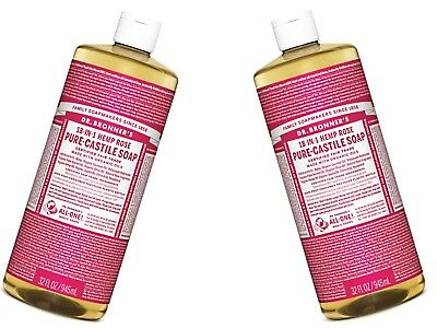 2 x 946ml DR BRONNERS Pure Castile Liquid Soap - Hemp Rose ( Bronner's )