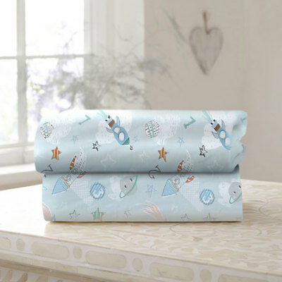 Clair de Lune Forty Winks Cotton Fitted Sheet, Blue, 2 Pack