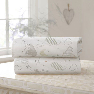 Clair de Lune Sleep Tight Cotton Fitted Sheet, White, 2 Pack
