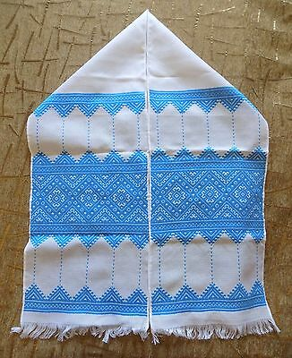 Awesome Hand embroidered long towel rushnyk Ukrainian culture blue color