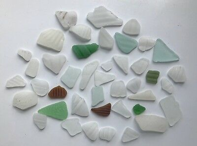 Sea Glass Patterned privacy Glass 42 pieces nice shaped glass jewellery craft
