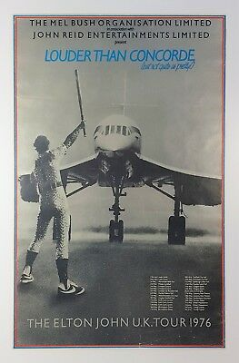 Elton John 1976 Louder Than Concorde UK Tour Promotional Poster