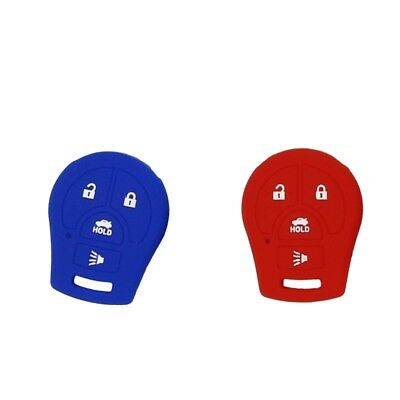 Pack of 2 Remote Keyless Car Key Fob Rubber Cover Case for Nissan Red+Blue
