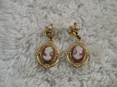 Goldtone Pink Lady Cameo Pierced Earrings (A27)