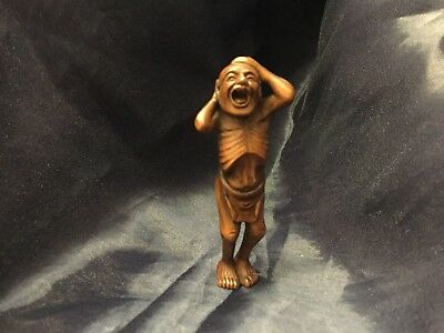 Wooden Netsuke Figurine Topless Skinny Man Signed Japanese Asian Collectible2595